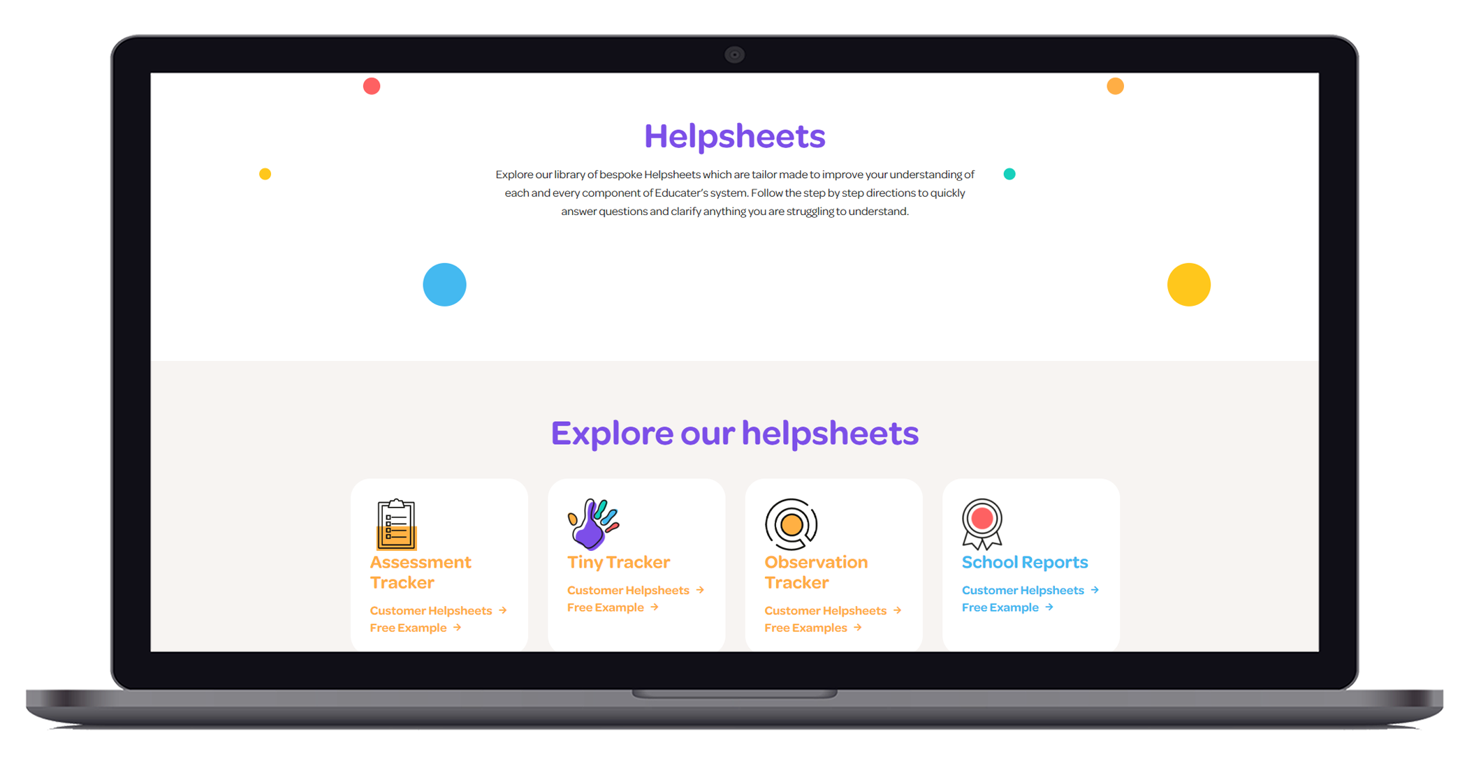 Website view of the Learning Hub helpsheets